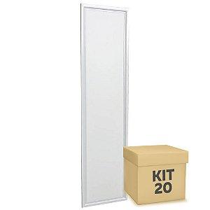 Kit 20 Luminária Plafon 30x120 48w LED Embutir Branco Frio