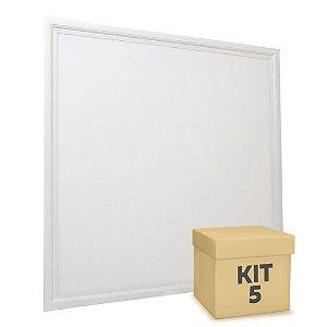 Kit 5 Luminária Plafon 60x60 48W LED Embutir Branco Neutro Borda Branca