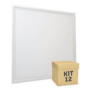 Kit 12 Luminária Plafon 60x60 48W LED Embutir Branco Neutro Borda Branca