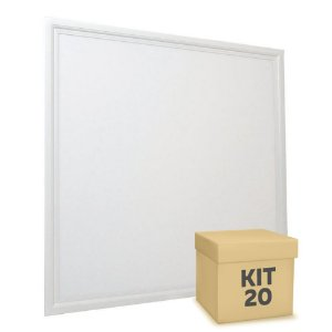 Kit 20 Luminária Plafon 60x60 48W LED Embutir Branco Neutro Borda Branca