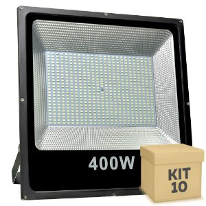 Kit 10 Refletor Holofote MicroLED Slim 400W Branco Frio