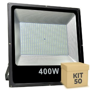 Kit 50 Refletor Holofote MicroLED Slim 400W Branco Frio
