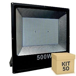 Kit 50 Refletor Holofote MicroLED Slim 500W Branco Frio