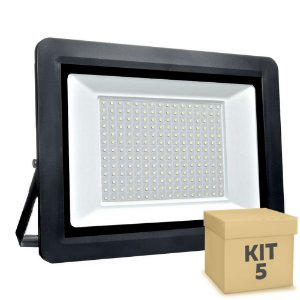 Kit 5 Refletor MicroLED SMD Ultra Thin 400W Branco Frio