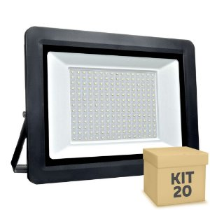 Kit 20 Refletor MicroLED SMD Ultra Thin 400W Branco Frio
