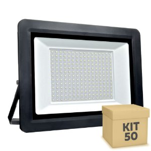 Kit 50 Refletor MicroLED SMD Ultra Thin 400W Branco Frio