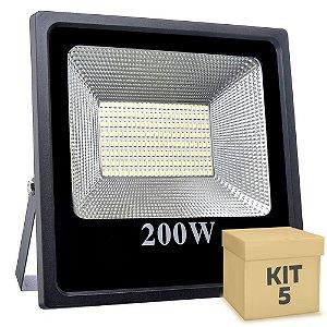 Kit 5 Refletor Holofote MicroLED Slim 200W Branco Quente