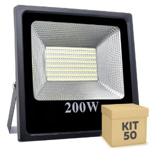 Kit 50 Refletor Holofote MicroLED Slim 200W Branco Quente