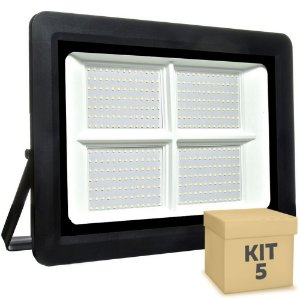 Kit 5 Refletor MicroLED SMD Ultra Thin 500W Branco Frio