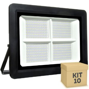 Kit 10 Refletor MicroLED SMD Ultra Thin 500W Branco Frio