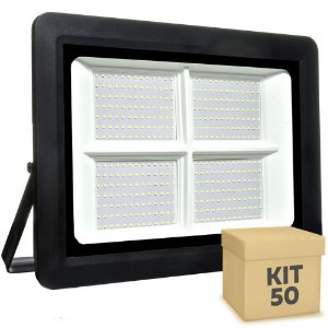 Kit 50 Refletor MicroLED SMD Ultra Thin 500W Branco Frio