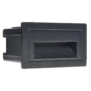 Balizador LED 3W De Embutir Retangular Branco Quente Preto