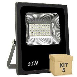 Kit 5 Refletor Holofote Micro LED SMD Slim 30W Branco Quente