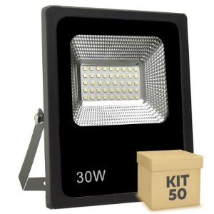 Kit 50 Refletor Holofote Micro LED SMD Slim 30W Branco Quente