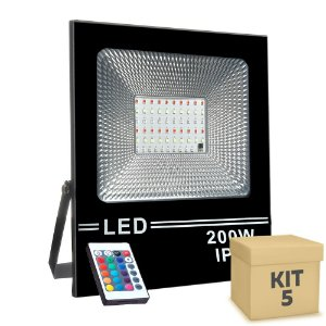 Kit 5 Refletor Holofote MicroLED SMD Slim 200W RGB Colorido com Controle