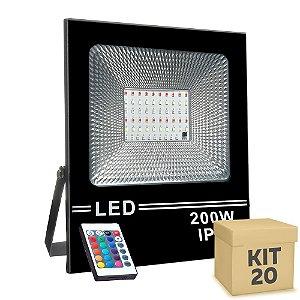 Kit 20 Refletor Holofote MicroLED SMD Slim 200W RGB Colorido com Controle
