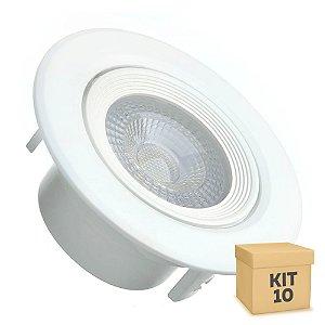 Kit 10 Spot LED SMD 5W Redondo Branco Frio