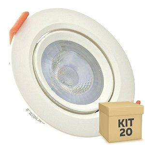 Kit 20 Spot LED SMD 5W Redondo Branco Frio