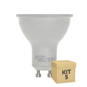 Kit 5 Lâmpada LED Dicroica 6,5w GU10 Branco Frio | Inmetro