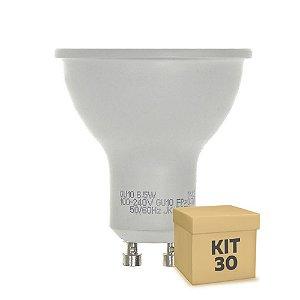 Kit 30 Lâmpada LED Dicroica 6,5w GU10 Branco Quente | Inmetro