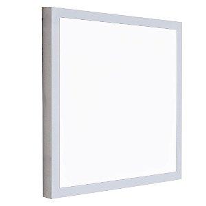 Luminária Plafon 40x40 LED 42w Sobrepor Branco Frio Cinza
