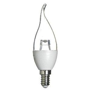 Lâmpada LED Vela Cristal Chama E14 4W Bivolt Branco Quente | Inmetro