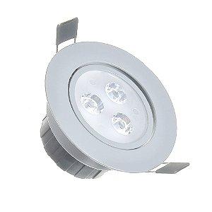 Spot LED 3w Dicróica Embutir Redondo Base Cinza