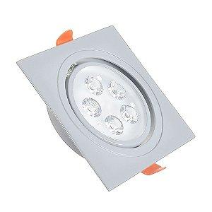 Spot LED 5W Dicróica Embutir Quadrado Base Cinza