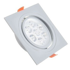 Spot LED 7W Dicróica Embutir Quadrado Base Cinza