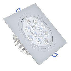Spot LED 12W Dicróica Embutir Quadrado Base Cinza