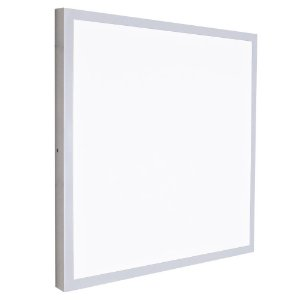 Luminária Plafon 60x60 LED 48W Sobrepor Branco Frio Borda Cinza