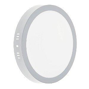 Luminária Plafon LED 18w Sobrepor Branco Frio Borda Cinza
