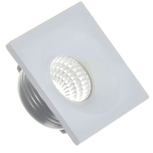 Mini Spot LED 3W COB Embutir Quadrado Base Cinza