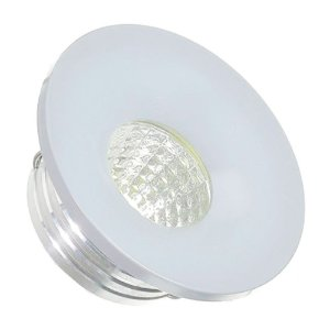 Mini Spot LED 3W COB Embutir Redondo Base Cinza