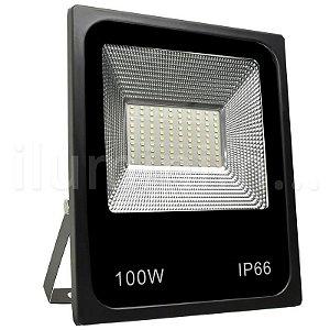 Refletor Holofote MicroLED Slim 100W Branco Frio - Pré-venda