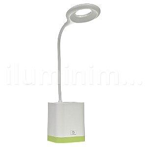 Luminária de Mesa LED com Porta Caneta Touch Pilha Branca e Verde