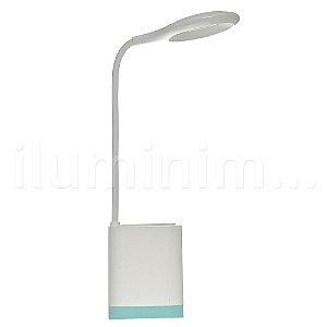 Luminária de Mesa LED com Porta Caneta Touch Pilha Branca e Azul