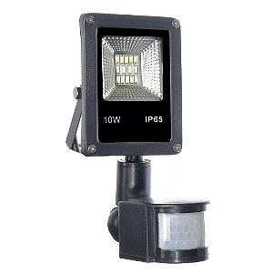 Refletor Holofote Micro LED SMD Sensor de Presença 10W Branco Frio