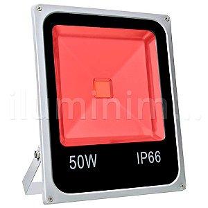 Refletor Holofote LED 50w Vermelho