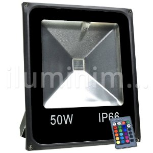 Refletor Holofote LED 50w RGB Colorido c/ Controle Preto