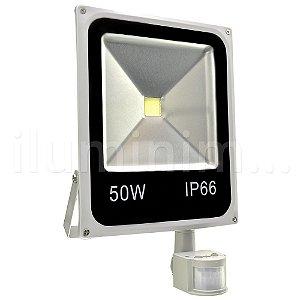Refletor Holofote LED 50w Sensor de Presença Branco Frio