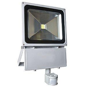 Refletor Holofote LED 100w Sensor de Presença Branco Frio