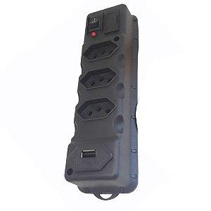 Filtro de Linha 3 Tomadas com USB Cabo 1,1 Metros