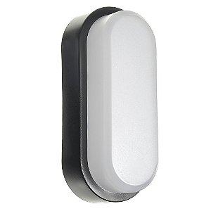 Luminária Arandela LED 12W Tartaruga Sobrepor Branco Frio Preto