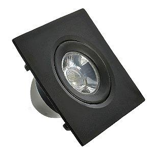 Spot LED SMD 3W Quadrado Branco Frio Preto