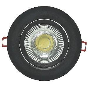 Spot LED SMD 5W Redondo Branco Quente Preto
