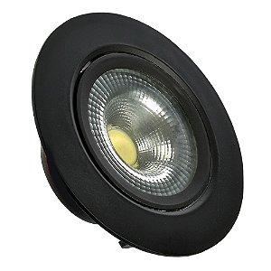 Spot LED SMD 7W Redondo Branco Frio Preto