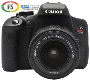 Camera Canon EOS Rebel T6i Lente EF S 18 55MM IS STM 24.2 Megapixels