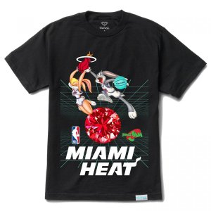 "DIAMOND SUPPLY CO - Camiseta Space Jam Miami Heat ""Preto"" -NOVO-"