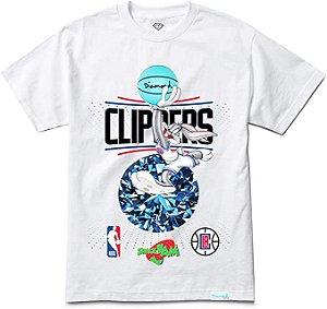 "DIAMOND SUPPLY CO - Camiseta Space Jam Los Angeles Clippers ""Branco""  -NOVO-"